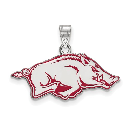 Sterling Silver 1/2in University of Arkansas Enamel Razorback Pendant