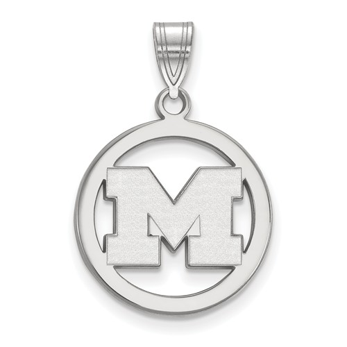 Sterling Silver 5/8in University of Michigan Pendant in Circle