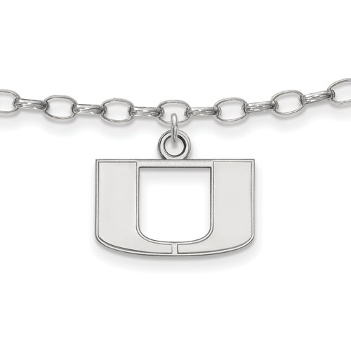 Sterling Silver 9in University of Miami Anklet