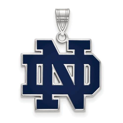 Sterling Silver 3/4in University of Notre Dame Enamel Pendant