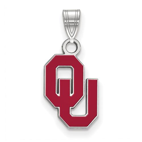 Sterling Silver 1/2in University of Oklahoma OU Enamel Pendant