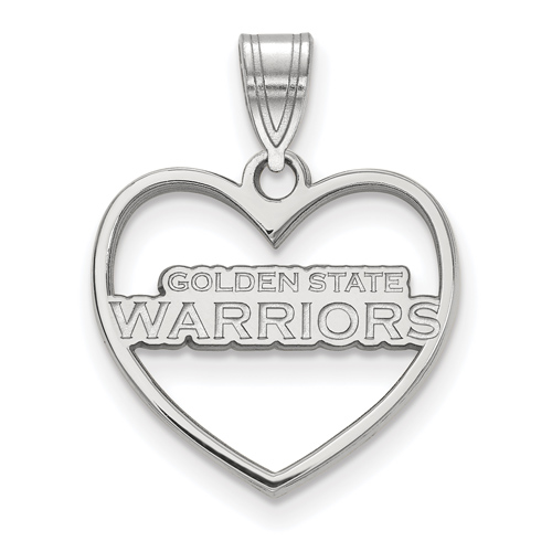 Sterling Silver 5/8in Golden State Warriors Heart Pendant