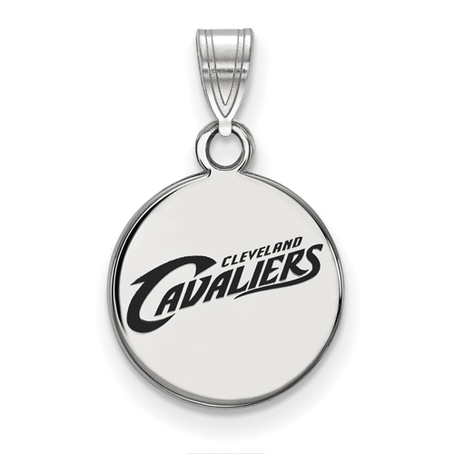 Sterling Silver 1/2in Round Cleveland Cavaliers Enamel Pendant