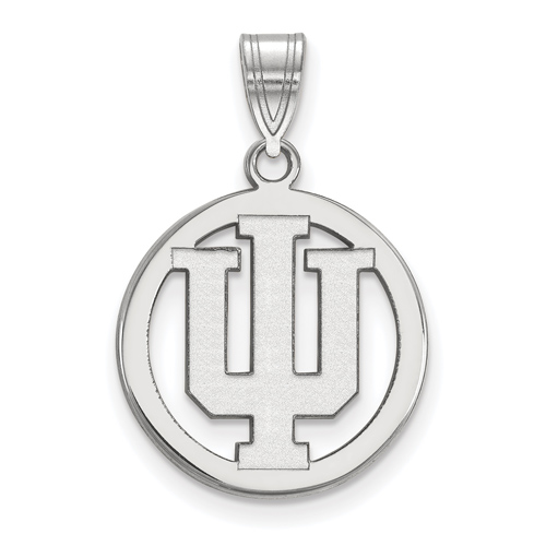 Sterling Silver 5/8in Indiana University Pendant in Circle
