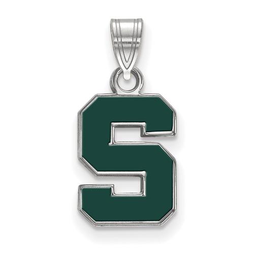 Sterling Silver 1/2in Michigan State University Block S Enamel Pendant