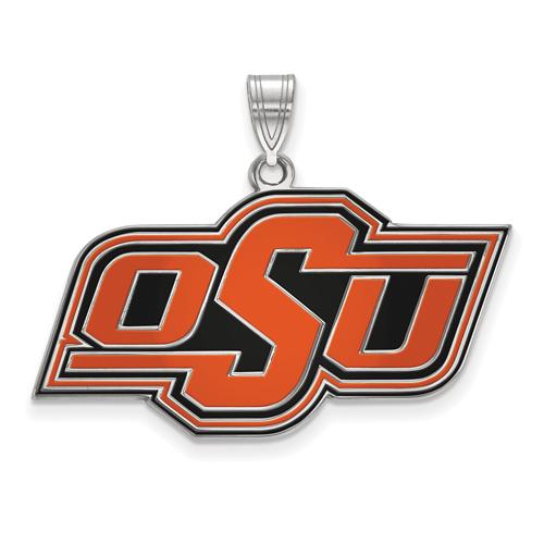 Sterling Silver 3/4in Oklahoma State University OSU Enamel Pendant