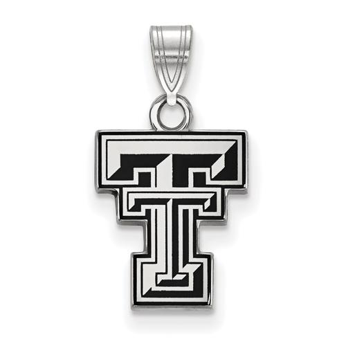 Sterling Silver 1/2in Texas Tech University Enamel Pendant