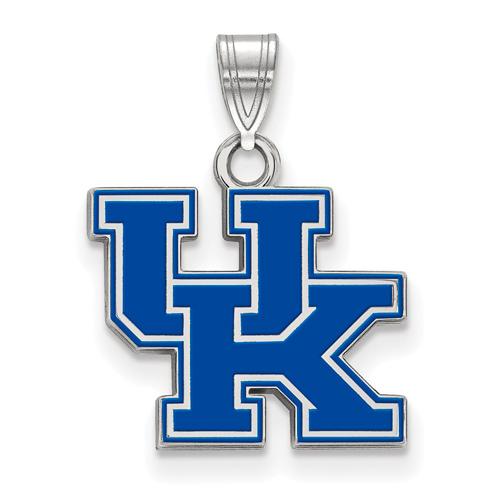 Sterling Silver 1/2in University of Kentucky UK Enamel Pendant