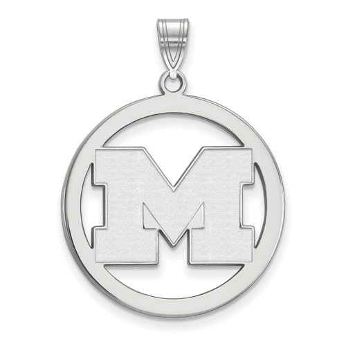 Sterling Silver 1in University of Michigan Logo Pendant in Circle