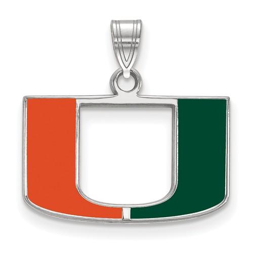 Sterling Silver 1/2in University of Miami U Enamel Pendant