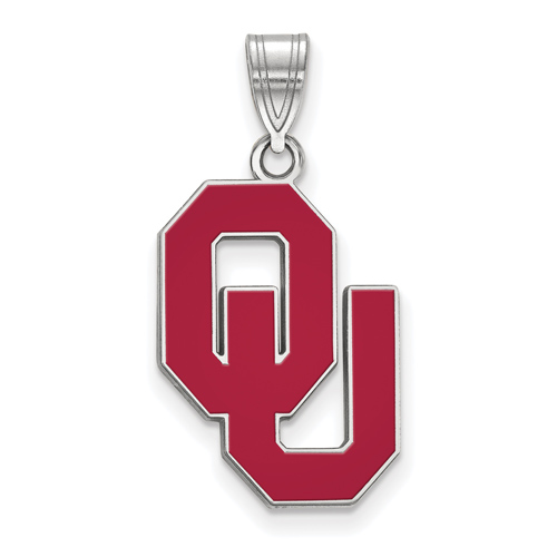 Sterling Silver 3/4in University of Oklahoma OU Enamel Pendant