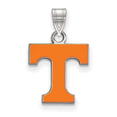 Sterling Silver 1/2in University of Tennessee T Enamel Pendant