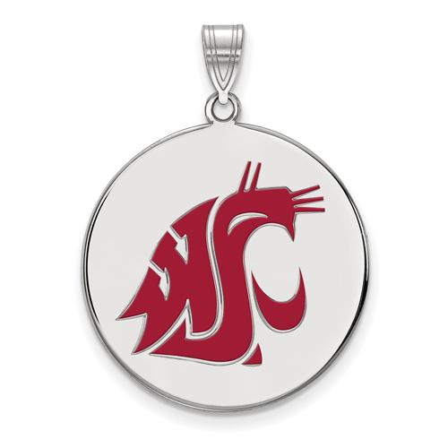 Sterling Silver 1in Washington State University Round Enamel Pendant
