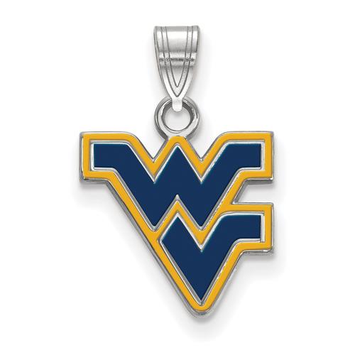 Sterling Silver 5/8in West Virginia University WV Enamel Pendant