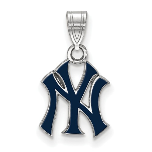 Sterling Silver New York Yankees Blue Enamel Pendant 1/2in