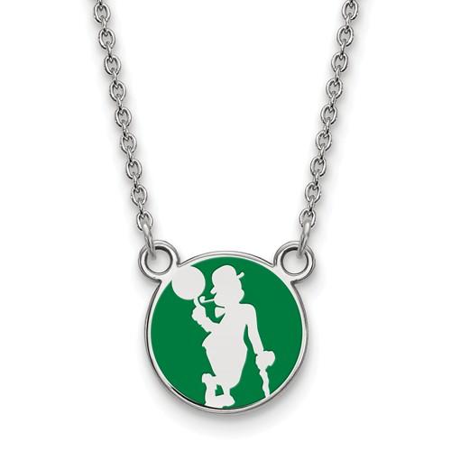 Sterling Silver 1/2in Boston Celtics Enamel Pendant on 18in Chain