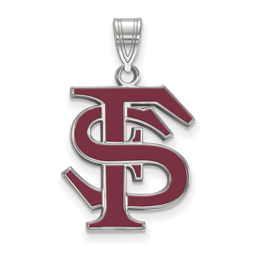 Sterling Silver 5/8in Florida State University FS Enamel Pendant