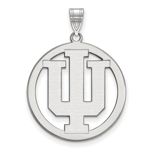 Sterling Silver 1in Indiana University Logo Pendant in Circle
