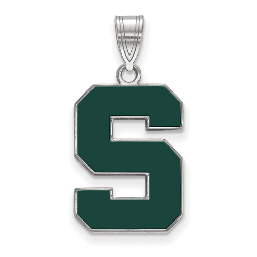 Sterling Silver 3/4in Michigan State University Block S Enamel Pendant