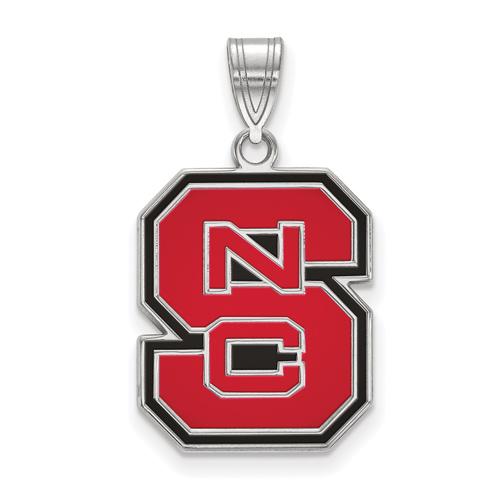 Sterling Silver 3/4in North Carolina State University Block S Enamel Pendant