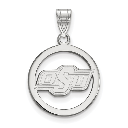 Sterling Silver 5/8in Oklahoma State University Pendant in Circle
