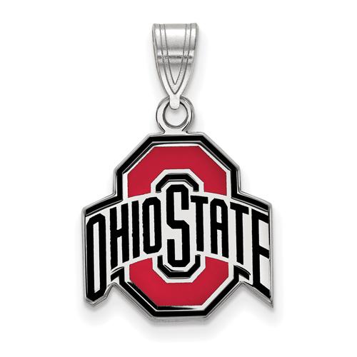 Sterling Silver 5/8in Ohio State University Logo Enamel Pendant