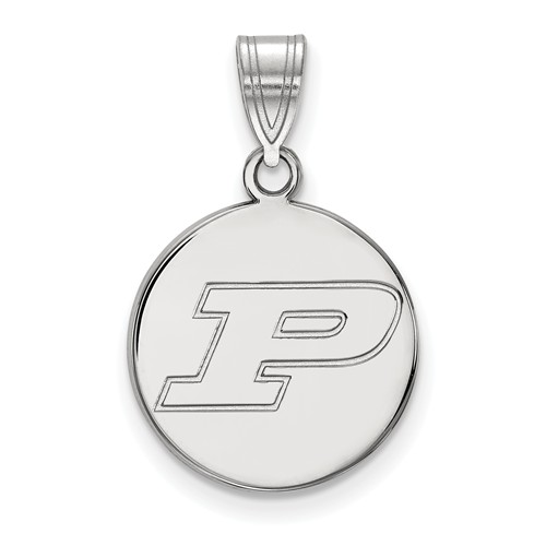 Sterling Silver Purdue University Round Pendant 5/8in