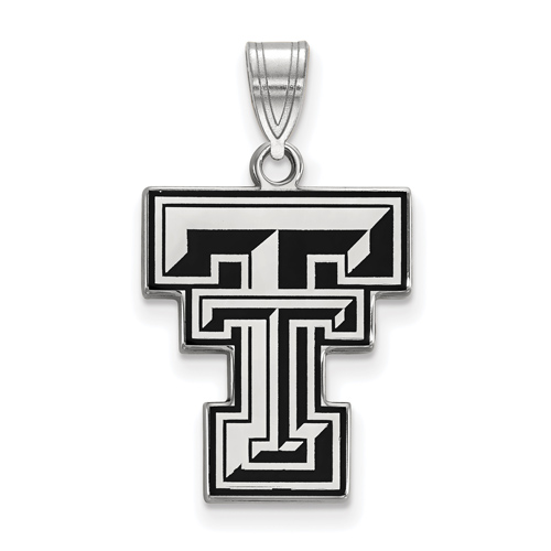 Sterling Silver 3/4in Texas Tech University Enamel Pendant