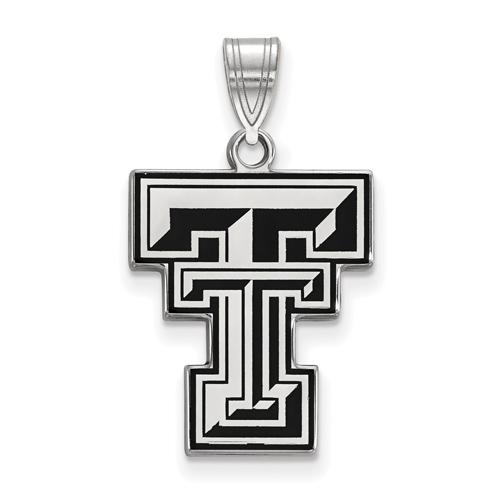 Sterling Silver 3/4in Texas Tech University Enamel Pendant