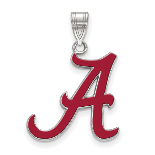 Sterling Silver 3/4in University of Alabama OSU Enamel Pendant