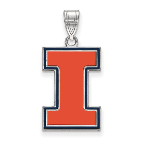 Sterling Silver 3/4in University of Illinois I Enamel Pendant
