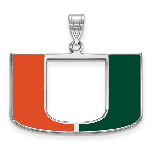 Sterling Silver 3/4in University of Miami U Enamel Pendant