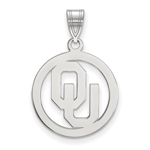 Sterling Silver 5/8in University of Oklahoma Pendant in Circle