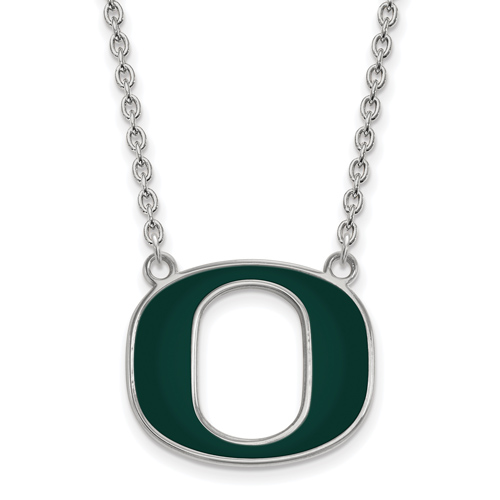 Sterling Silver University of Oregon O Green Enamel Pendant with 18in Chain