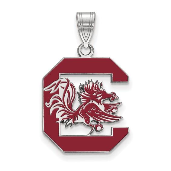 Sterling Silver 3/4in University of South Carolina Enamel Pendant