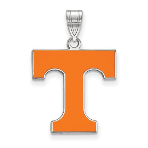 Sterling Silver 3/4in University of Tennessee T Enamel Pendant
