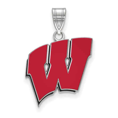 Sterling Silver 3/4in University of Wisconsin W Red Enamel Pendant