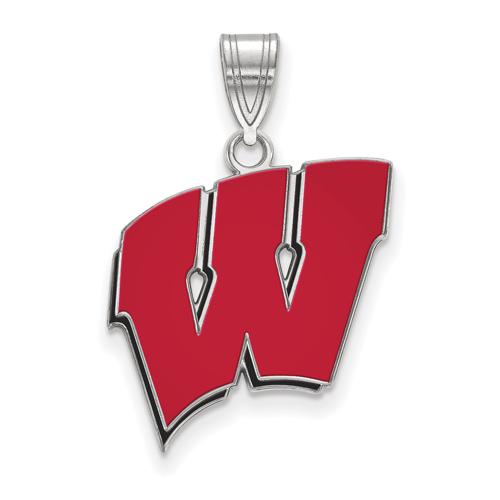 Sterling Silver 3/4in University of Wisconsin W Red Enamel Pendant