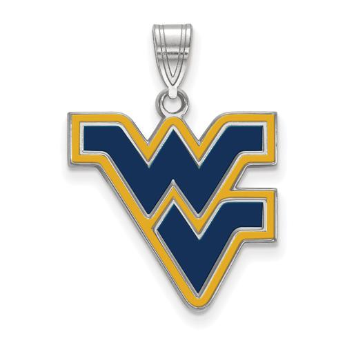 Sterling Silver 3/4in West Virginia University WV Enamel Pendant