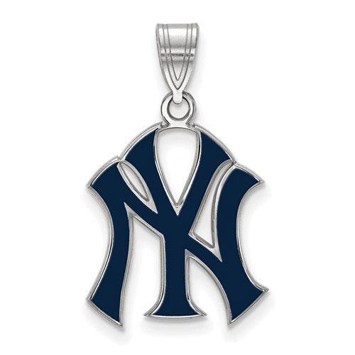 Sterling Silver 3/4in New York Yankees Blue Enamel Pendant