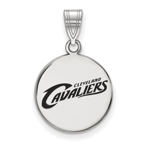Sterling Silver 5/8in Round Cleveland Cavaliers Enamel Pendant
