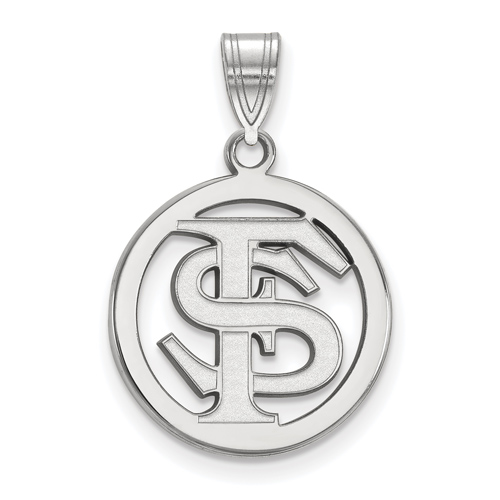 Sterling Silver 5/8in Florida State University FS Pendant in Circle