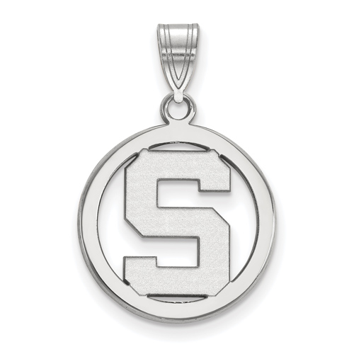 Sterling Silver 5/8in Michigan State University Pendant in Circle