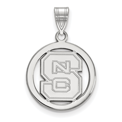 Sterling Silver 5/8in North Carolina State University Pendant in Circle
