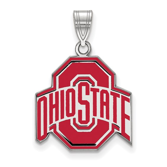Sterling Silver 3/4in Ohio State University Enamel Pendant