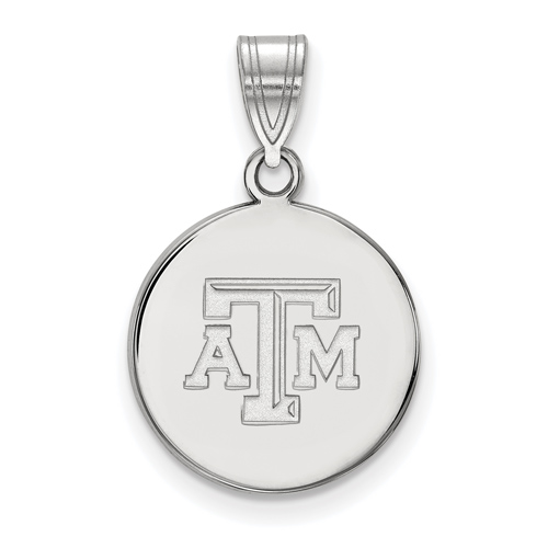 Sterling Silver 5/8in Texas A&M University Disc Pendant