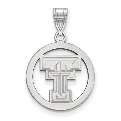 Sterling Silver 5/8in Texas Tech University Pendant in Circle