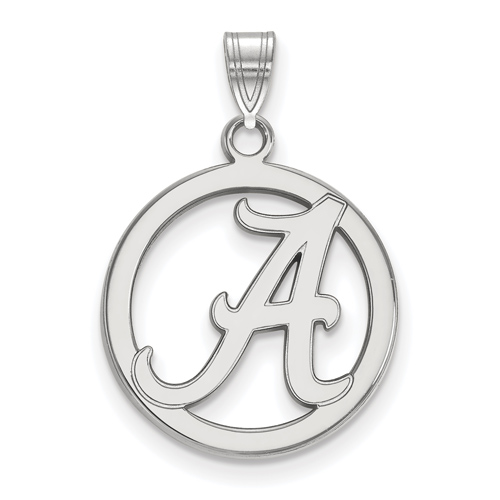Sterling Silver 5/8in University of Alabama Pendant in Circle