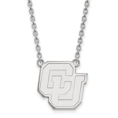 University of Colorado Logo Necklace 3/4in 10k White Gold