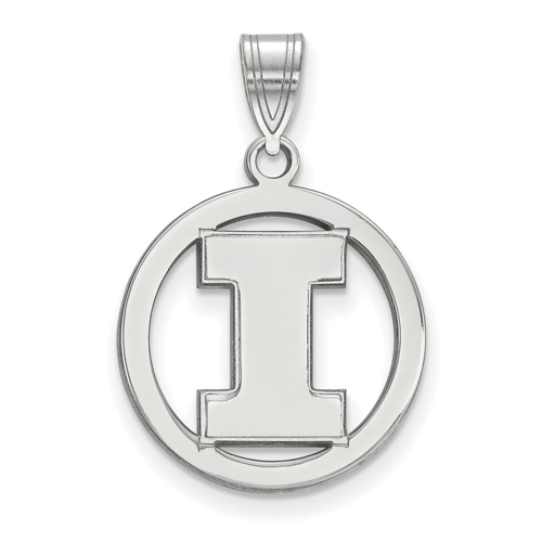 Sterling Silver 5/8in University of Illinois Pendant in Circle